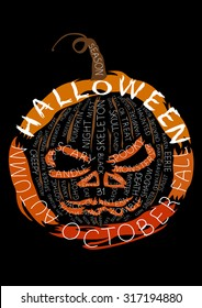 Illustration text composition. Pumpkin jack-o-lantern consists of halloween words. Handmade letters are my own design.