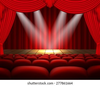 Illustration theater stage with a red curtain and a spotlight