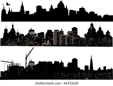 illustration with three cities silhouettes isolated on white background
