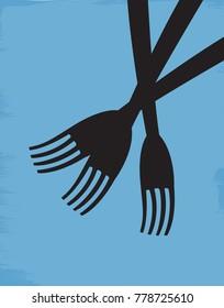 Illustration of three forks on a blue background