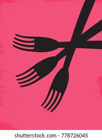 Illustration of three forks on a pink background