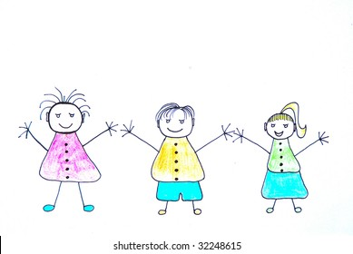 Illustration of three funny hand drawn children with happy smiling facial expression on white background