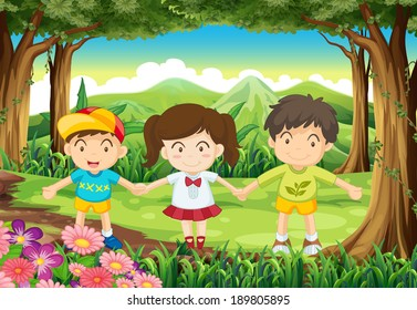 Illustration of the three kids at the forest