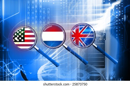 Illustration of three magnifying glasses with nation flags