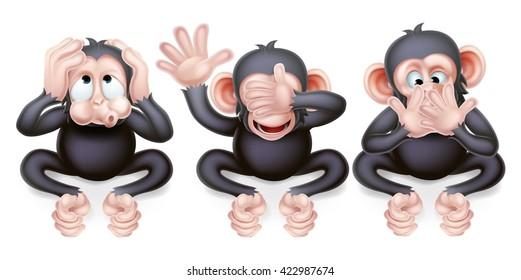 An illustration of the three wise monkeys, hear no evil, see no evil, speak no evil