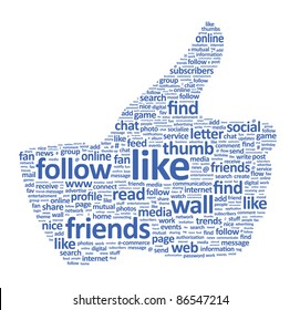 Illustration of the thumbs up symbol, which is composed of text keywords on social media themes. Isolated on white.