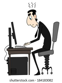 Illustration of tired man working on computer on white background