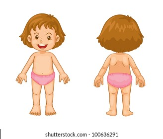 Illustration of toddler front and back - EPS VECTOR format also available in my portfolio.