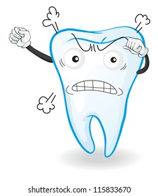 illustration of a tooth in angry mood on white