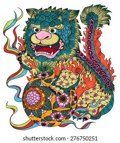 """illustration of traditional Chinese Pattern and Drawing """"Lion with silk balls"""""""