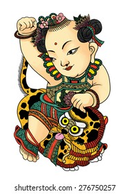 """illustration of traditional Chinese Pattern and Drawing """"Children with lion'"""