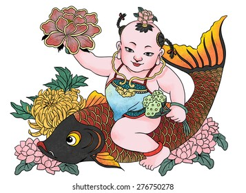 """illustration of traditional Chinese Pattern and Drawing """"Successive harvest'"""