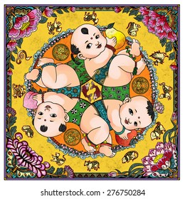 """illustration of traditional Chinese Pattern and Drawing """"Six children playing games"""""""