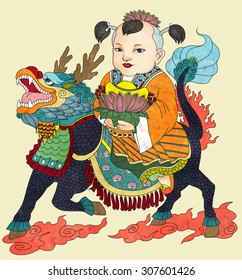 """Illustration of traditional Chinese Pattern and Drawing """"Qi Lin Brings the Talented Son"""""""