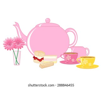 an illustration of a traditional english cream tea with teapot cups and cakes on a white background