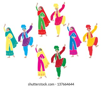 Punjabi culture images stock photos vectors shutterstock an illustration of traditional punjabi bhangra dancing with four couples dressed in colorful costumes on a malvernweather Images