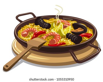 illustration of traditional spanish food paella on oan