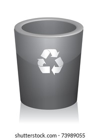 Illustration of a traditional trashcan with a reminder to recycle