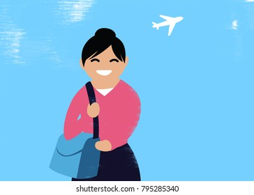 Illustration of a traveling woman