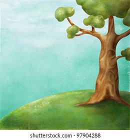 Illustration - the tree on the hill