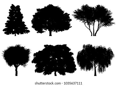 Illustration of tree silhouettes for architectural compositions with backgrounds