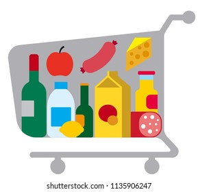 illustration of trolley cart with different meals and food