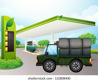 Illustration of a truck near the gasoline station