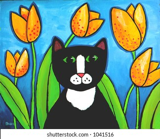 Illustration of Tuxedo Cat in Tulips