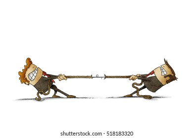 illustration of two businessmen trying to pull a rope from each other. isolated, white background