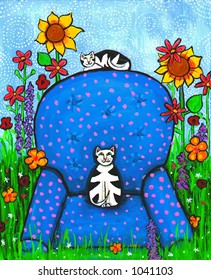 Illustration of two cats on a comfy armchair