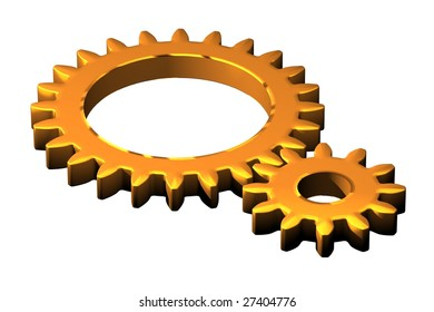 An illustration of two cog wheels in a metallic bronze color