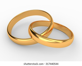 Illustration of two connected gold wedding rings