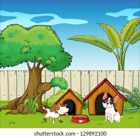 Illustration of two dogs inside the fence