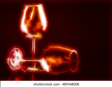 Illustration of two empty wine glass