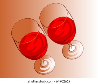 Illustration of two glass with  red wine