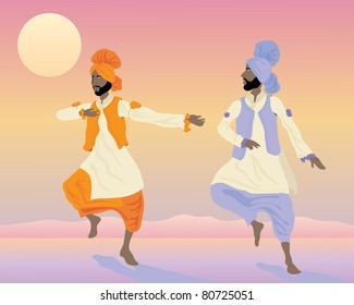 Punjabi culture images stock photos vectors shutterstock an illustration of two punjabi dancers with colorful traditional clothing dancing under a sunset sky malvernweather Images