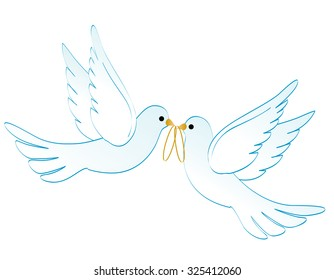Illustration of two white pigeons / doves carrying two golden rings isolated on white background