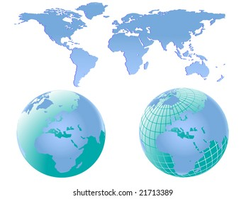 Illustration of two world globes with europe and africa facing forward together with a map of the world which can be separated into different continents easily.
