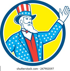 Illustration of Uncle Sam with hand up with stars and stripes American flag design on his hat and clothes set inside circle on isolated background done in retro style.
