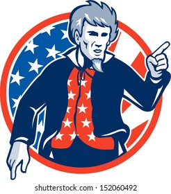 Illustration of Uncle Sam pointing a finger at you set inside circle with stars and stripes American flag viewed from front.