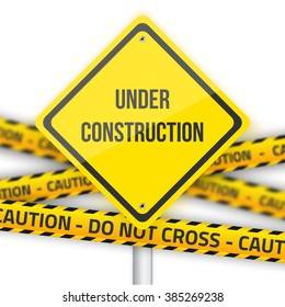 Illustration of Under Construction Road Sign Background with Yellow Police Line