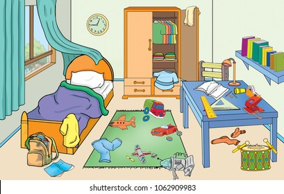 Illustration of untidy child room.