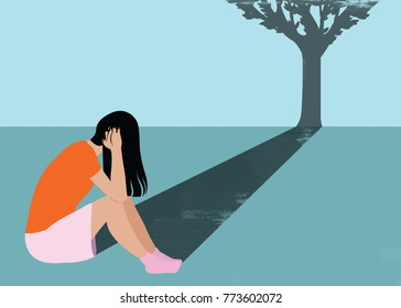 Illustration of upset child with her shadow forming a tree