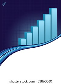 illustration of a upward direction graph on a blue business background