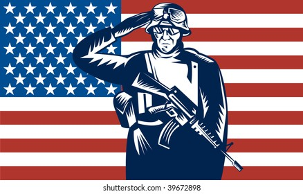 illustration of a US military serviceman saluting  flag in the back
