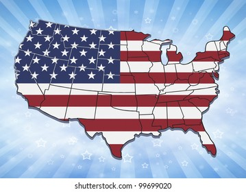 Illustration of USA with state borders and stars and stripes background.