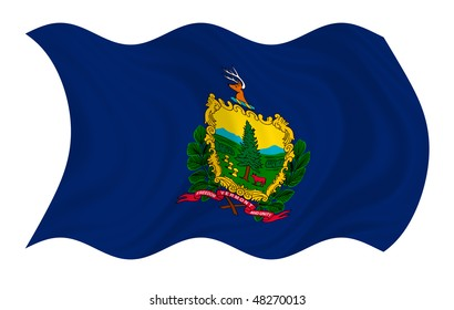 Illustration of Vermont state flag waving in the wind