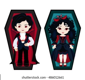 Illustration of very cute boy and girl vampires in his coffins. Raster copy.