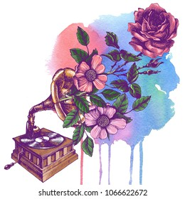 Illustration of a vintage gramophone with roses. Hand drawn raster retro phonograph for your nostalgic and symbolic design style.