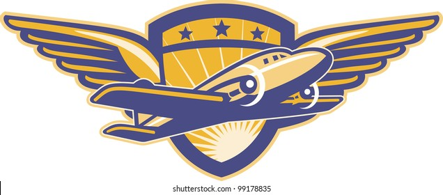 Illustration of a vintage propeller airplane flying with wings and shield in background done in retro style.